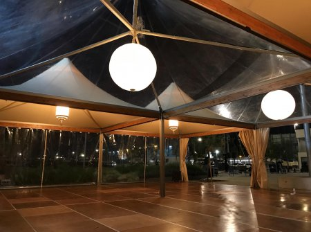 VIP tents at restaurant opening
